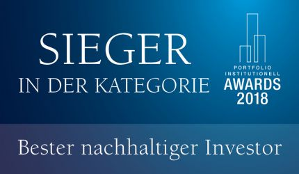 Institutional Awards 2018 bester nachhaltiger Investor 2018